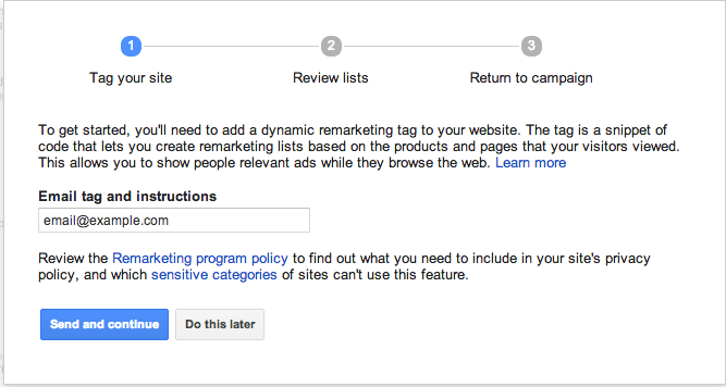 Remarketing Tags Set Up